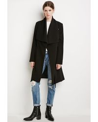 Forever 21 | Black Contemporary Belted Shawl Collar Coat You've Been Added To The Waitlist | Lyst