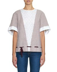See By Chloé - Multicolor Striped Cotton-Poplin Top - Lyst