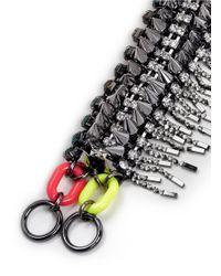 Venna - Metallic Crystal Stud Fringe Bracelet - Lyst