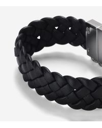 Cole Haan - Black Braided Leather Bracelet for Men - Lyst