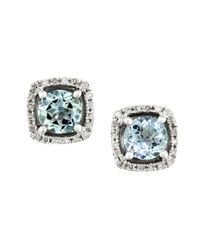 Effy | Blue Gemma Aquamarine, Diamond And 14k White Gold Stud Earrings | Lyst