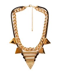Forever 21 - Metallic Statement Spiked Bib Necklace - Lyst