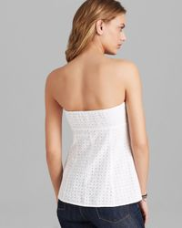 Guess - White Tube Top Eyelet - Lyst