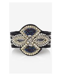 Express | Black Rhinestone And Seed Bead Snap Bracelet | Lyst