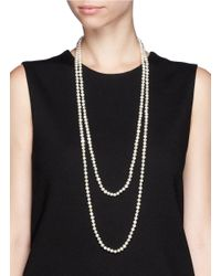 CZ by Kenneth Jay Lane - White Faux Baroque Pearl Lariat Necklace - Lyst