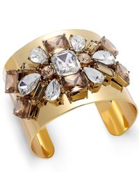 kate spade new york - Metallic Gold-Tone Crystal Cluster Cuff Bracelet - Lyst