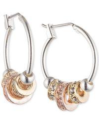 Nine West - Pink Silver-tone Rhinestone Slider Small Hoop Earrings - Lyst