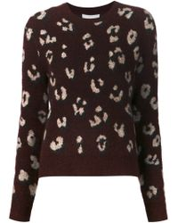 3.1 Phillip Lim | Red Burgundy Leopard Crew Neck Sweater | Lyst