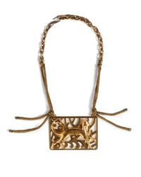 Lanvin | Metallic Panther Plaque Statement Necklace | Lyst