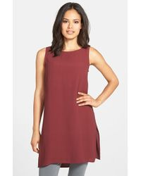 Eileen Fisher | Red Bateau Neck Long Silk Shell | Lyst
