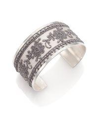 Chan Luu | Metallic Lace & Sterling Silver Large Cuff Bracelet | Lyst