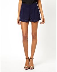 Little Mistress | Blue Floral Applique Shorts | Lyst