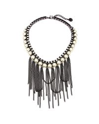 Ben-Amun | Black Pearl Fringe Necklace | Lyst