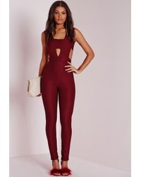 b4bf28812a9e Missguided Cut Out Jumpsuit Oxblood in Purple - Lyst