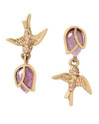 Betsey Johnson - Pink Spring Critters Cubic Zirconia Bird Drop Earrings - Lyst