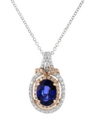Effy | Blue 14k White And Rose Gold Sapphire And Diamond Pendant Necklace | Lyst