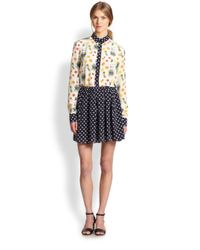 SUNO Blue Polka-dot Washed-silk Mini Skirt