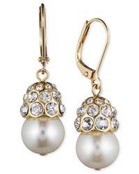 Anne Klein | Metallic Gold-tone Glass Pearl Single Drop Earrings | Lyst