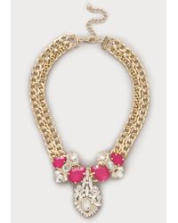 Bebe - Pink Rose Stone Pendant Necklace - Lyst