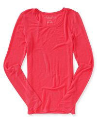 Aéropostale | Pink Long Sleeve Solid Layering Tee | Lyst