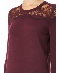 Erdem - Purple Manon Lace-insert Cashmere Sweater - Lyst