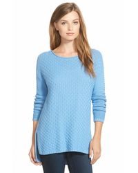 Vince Camuto | Blue Rib Stitch Sweater | Lyst