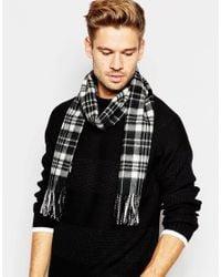 Minimum - Black Check Wool Scarf for Men - Lyst