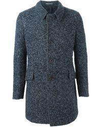 Boglioli - Blue Tweed Overcoat for Men - Lyst