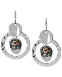 Robert Lee Morris - Metallic Silver-tone Hammered Disc And Abalone Bead Drop Earrings - Lyst