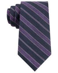 Calvin Klein | Purple Indigo Heather Stripe Slim Tie for Men | Lyst