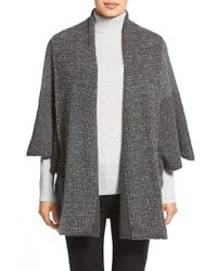 White + Warren | Gray Shawl Collar Poncho Style Cardigan | Lyst