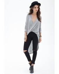 Forever 21 - Gray Twist-front Knit Top - Lyst