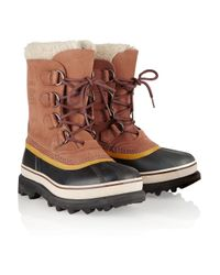 Sorel | Brown Caribou Suede And Waterproof Rubber Boots | Lyst