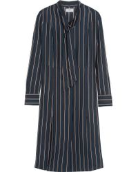 FRAME | Blue Le Shirt Striped Washed Silk-charmeuse Dress | Lyst