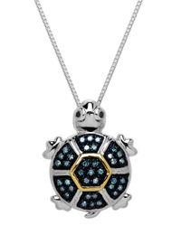 Lord & Taylor | Metallic Sterling Silver And 14 Kt. Yellow Gold Diamond Turtle Pendant | Lyst