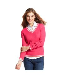 Tommy Hilfiger - Pink Long Sleeve Cable-Knit V-Neck - Lyst