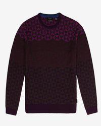 Ted Baker - Purple Ombré Pattern Wool Sweater for Men - Lyst