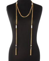 Rachel Zoe | Metallic Gold-plated  White Tassel Wrap Necklace | Lyst