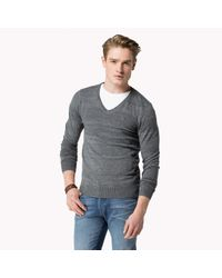 Tommy Hilfiger - Gray Cotton Blend Sweater for Men - Lyst