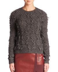 3.1 Phillip Lim - Gray Long-sleeve Fringe Pullover Sweater - Lyst