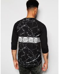 Pink Dolphin | Black 3/4 Sleeve T-shirt In Marble Print With Raglan Sleeves for Men | Lyst
