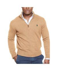 Polo Ralph Lauren - Brown Half-zip Cotton Sweater for Men - Lyst