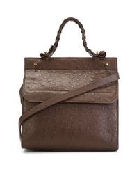 DESA NINETEENSEVENTYTWO - Brown Small Front Flap Tote - Lyst