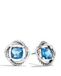 David Yurman | Infinity Earrings With Hampton Blue Topaz | Lyst