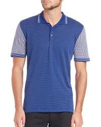 Kiton - Blue Patterned Cotton Polo for Men - Lyst