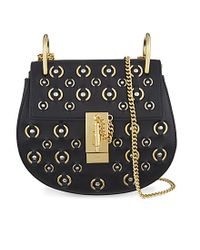 Chloé - Black Drew Small Leather Ring Stud Cross-body Bag - Lyst