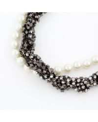Paul Smith - Metallic Plaited Diamante And Pearl Necklace - Lyst