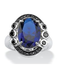 Palmbeach Jewelry | .40 Tcw Oval-cut Blue Spinel And Bezel-set Black Cubic Zirconia Ring In Sterling Silver | Lyst