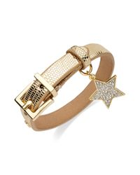 Juicy Couture - Metallic Goldtone Crystal Star Leather Bracelet - Lyst