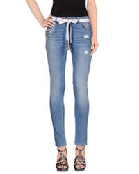 Twin Set - Blue Denim Trousers - Lyst